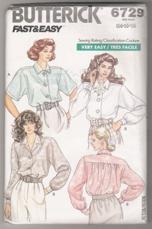Misses' Blouse Butterick #6729 Sewing Pattern