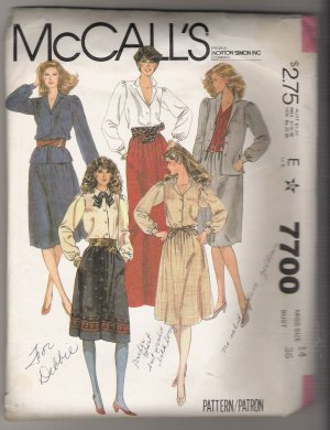 Misses' Blouse and Skirt McCall's #7700 Sewing Pattern