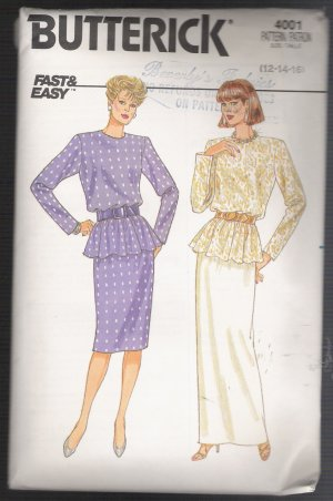 Misses' / Misses' Petite Top and Skirt Butterick #4001 Sewing Pattern