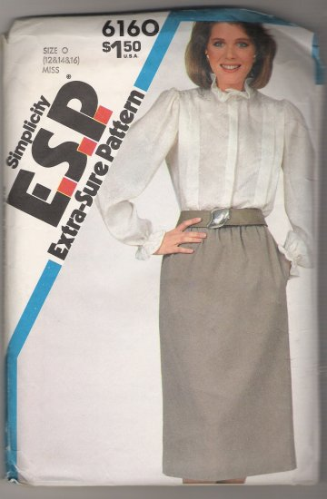 Misses Skirt and Blouse Simplicity Sewing Pattern #6160