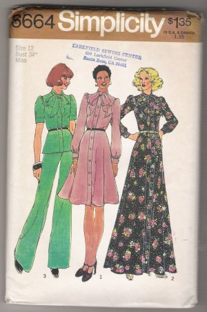 Misses Dress in Two Lengths or Top and Pants Simplicity Sewing Pattern #6664