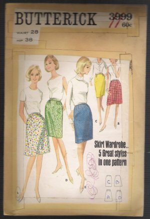 Misses' Five Skirt Styles Butterick Sewing Pattern #3999