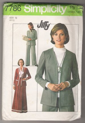 Misses' Skirt, Pants and Unlined Jacket Simplicity Sewing Pattern #7786