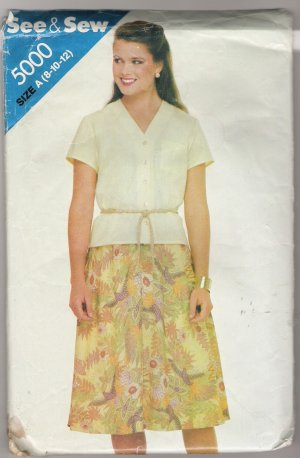 Misses' Top and Skirt Butterick Sewing Pattern #5000