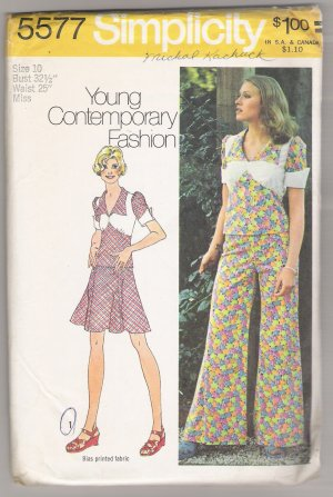 Misses' Two-Piece Mini-Dress and Pants Set Simplicity #5577 Sewing Pattern