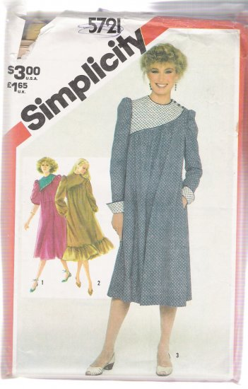 Misses' Asymmetrick Dress with Quilted or Plain Yoke Simplicity #5721 Sewing Pattern