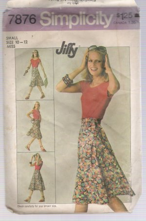 Incomplete Misses' Front Wrap Skirt Simplicity #7876 Sewing Pattern