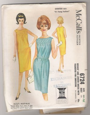 Misses' and Junior Dress with Transfer for Smocking McCall's #6724 Sewing Pattern