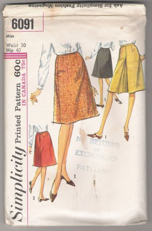Misses' Set of Skirts Simplicity #6091 Sewing Pattern