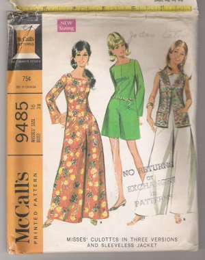 Misses' Culottes in Three Versions and Sleeveless Jacket McCall's #9485 Sewing Pattern