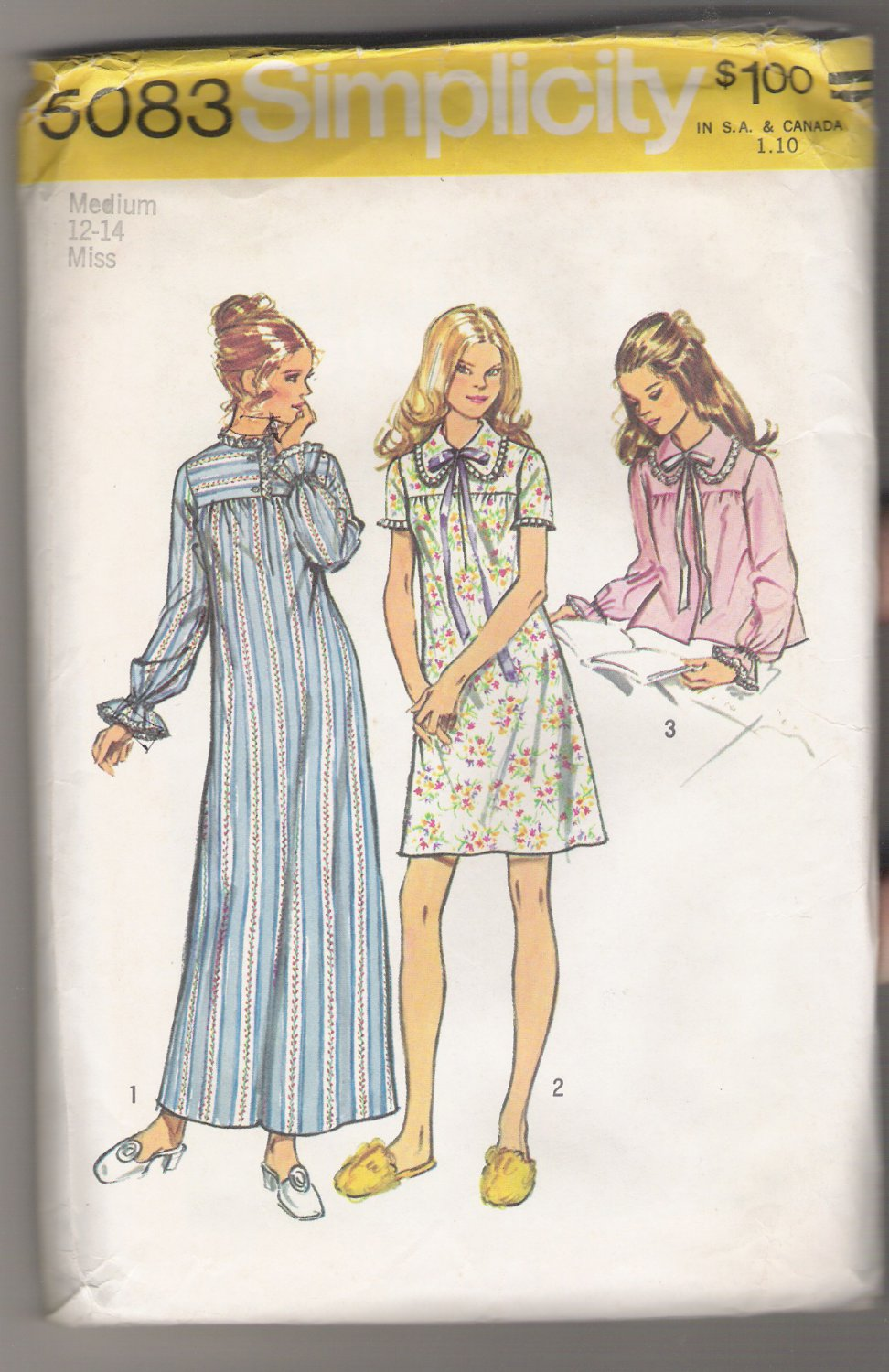 Misses' and Women's Nightgown in Two Lengths and Bedjacket Simplicity #5083 Sewing Pattern