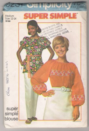 Misses' Blouse Simplicity #9231 Sewing Pattern
