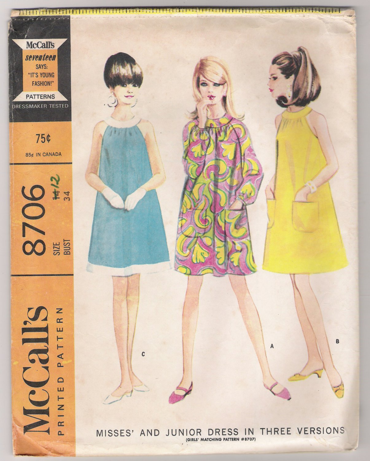 Misses' and Junior Dress in Three Versions McCall's #8706 Sewing Pattern
