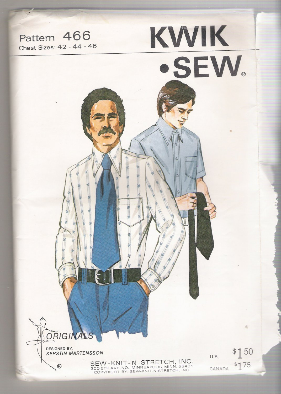 Men's Dress Shirt Sew-Knit-N-Stretch #466 Sewing Pattern