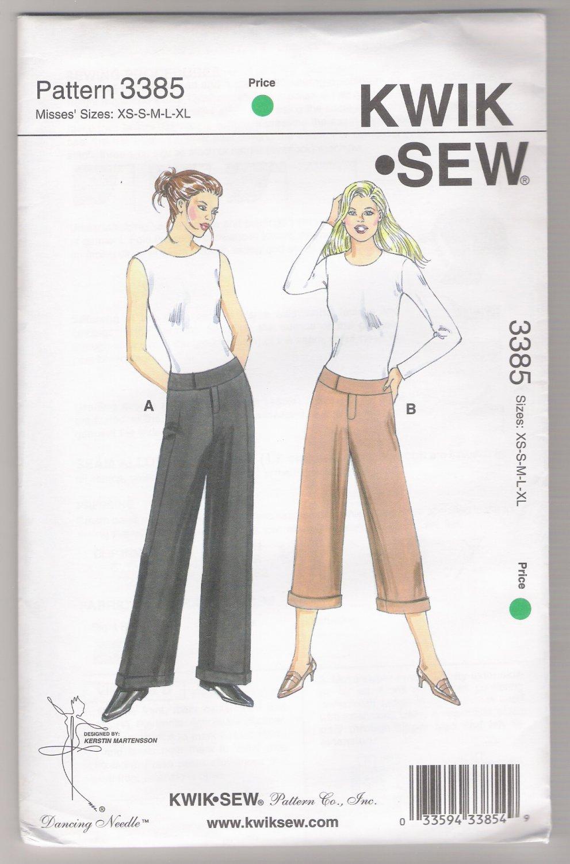 Misses' Pants Kwik-Sew #3385 Sewing Pattern