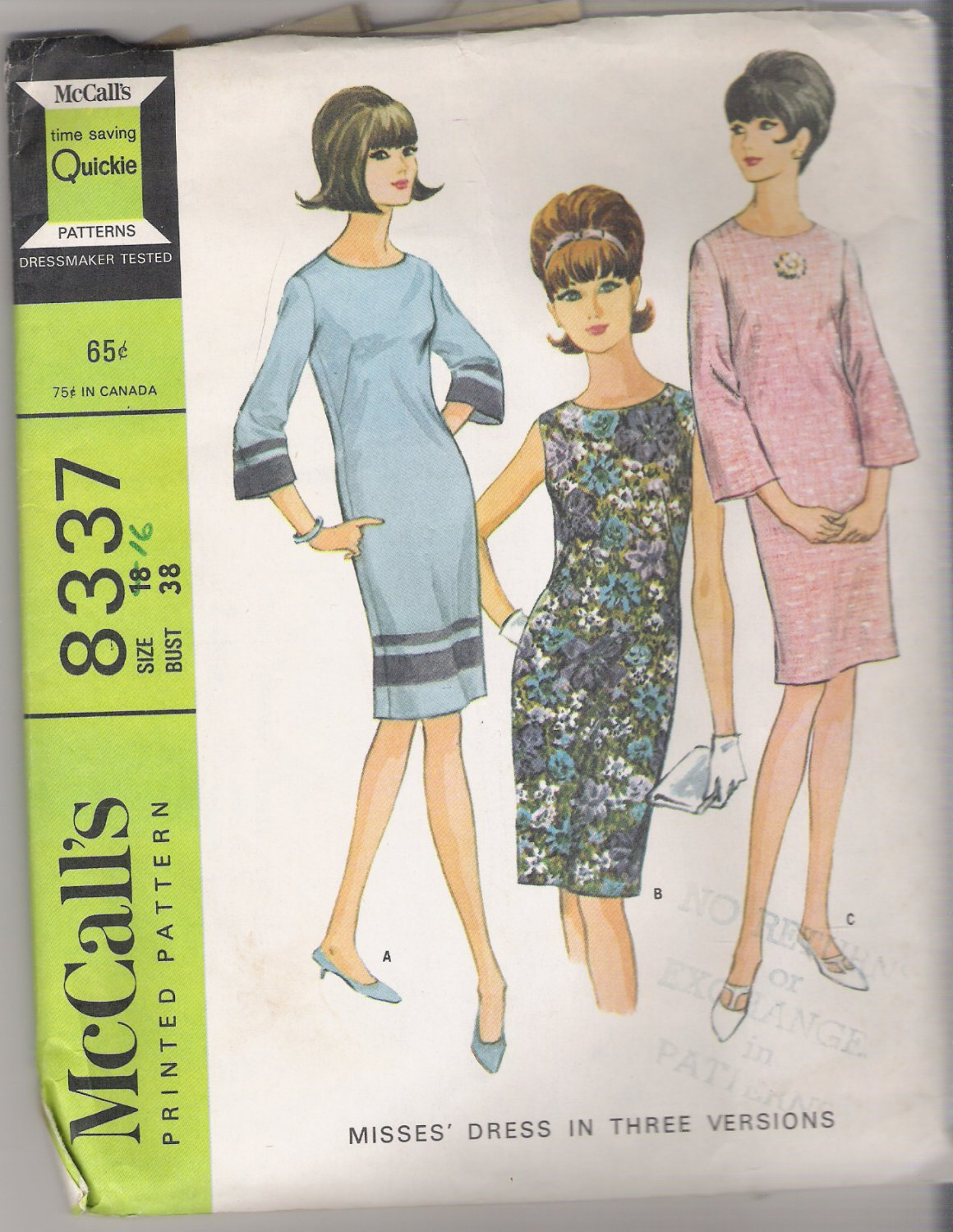 Misses' Dress in Three Versions McCall's #8337 Sewing Pattern