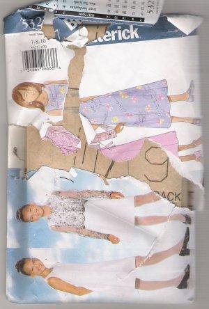 Girls' Top & Dress Butterick #5327 Sewing Pattern