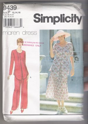 Misses' Pantsuit and Two-Piece Dress Simplicity #9439 Sewing Pattern