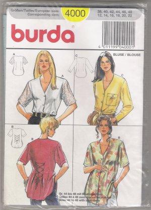 Misses' Blouses Burda #4000 Sewing Pattern