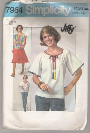 Misses' Jiffy Skirt and Pullover Top Simplicity #7964 Sewing Pattern