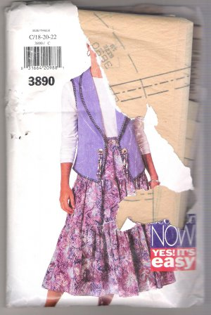 Misses Vest, Top & Skirt Butterick #3890 Sewing Pattern