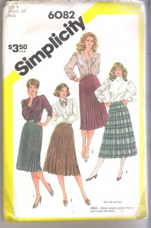 Misses' Set of Pleated Skirts Simplicity #6082 Sewing Pattern