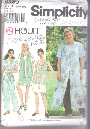 Women's Vest, Pants or Shorts & Sash Simplicity #8135 Sewing Pattern