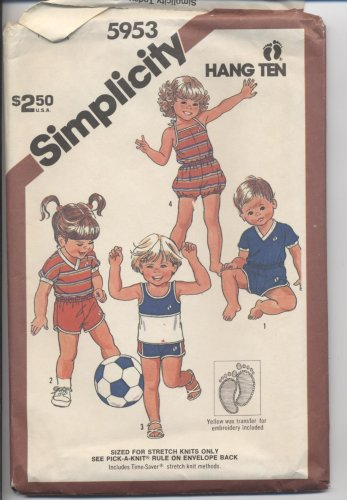 Toddlers' Pull-on Romper, Shorts and Pullover Tops Simplicity #5953 Sewing Pattern