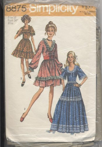 Misses' Dress Simplicity #8875 Sewing Pattern