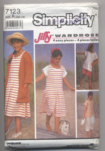 Girls' Knit Pants or Shorts, Jumper or Sundress, Top & Jacket Simplicity #7123 Sewing Pattern
