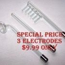 ELECTRODES FOR VIOLET RAY UNIT SET of 3 SPECIAL PRICE RED LIGHT ELECTRODES 12mm