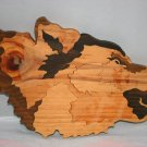 Amazing Wood Crafted Howling Wovles Head Beautiful
