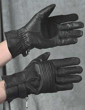 MEN'S BLACK LEATHER MOTORCYCLE/RIDING GLOVES