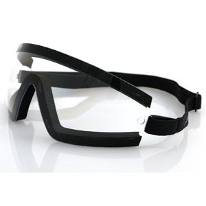 BOBSTER WRAP-AROUND GOGGLES BLACK FRAME CLEAR LENS