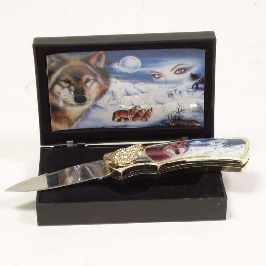 WOLF EYES FOLDING COLLECTOR'S POCKET KNIFE W/BOX