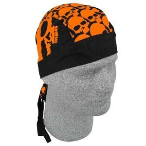 ZAN FLYDANNA HEAD WRAP/DOO RAG/SKULLCAP ORANGE SKULLS