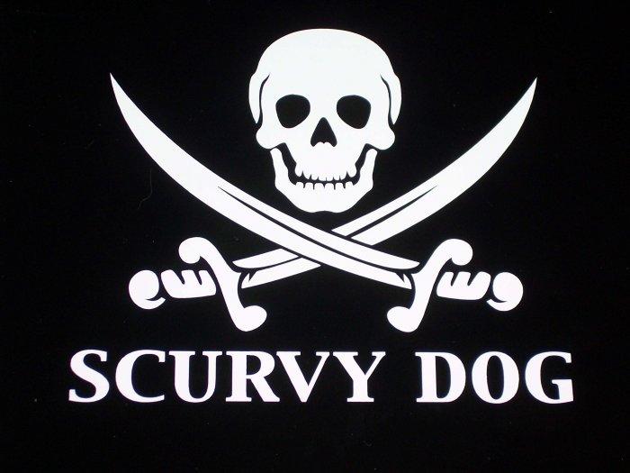 Scurvy Dog Skull & Crossbones Vinyl Decal - Pick Color!