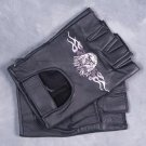 MEN'S BLACK LEATHER FINGERLESS MOTORCYCLE GLOVES EAGLE