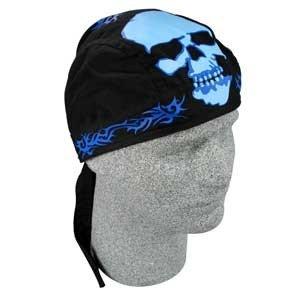 ZAN ROAD HOG BIKER HEAD WRAP/DOO RAG BLUE TRIBAL SKULL