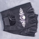 MEN'S BLACK LEATHER FINGERLESS MOTORCYCLE GLOVES SKULL