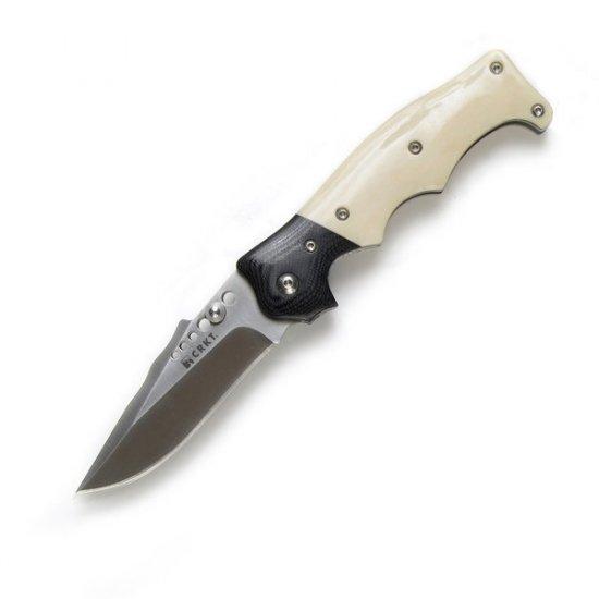 CRAWFORD NATURAL 2 BONE HANDLE OUTBURST FOLDING KNIFE