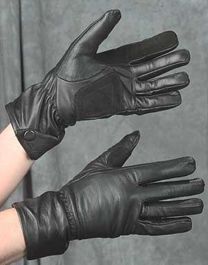 LADIES' BLACK LEATHER MOTORCYCLE/RIDING GLOVES