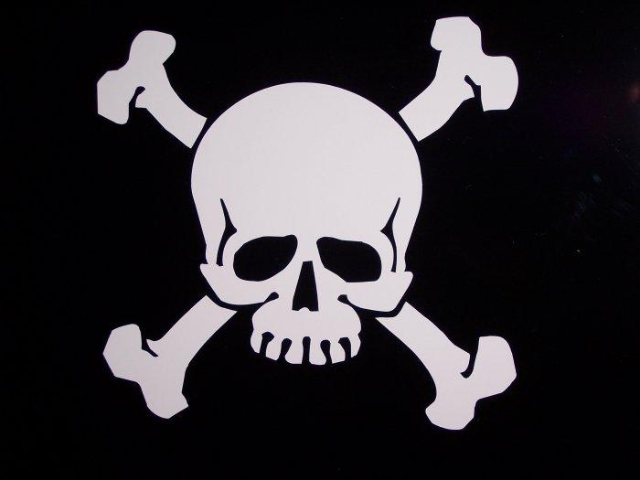 """Skull & Crossbones Vinyl Logo 7 1/2"""" High x 8"""" Wide"""