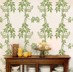 WALL STENCIL Virginia Creeper DAMASK, Reusable stencils