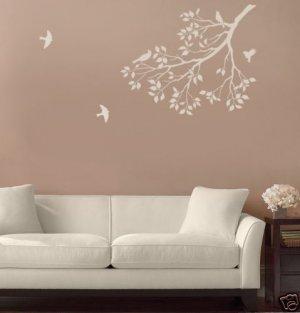 Wall Stencil Spring Songbirds, DIY Reusable stencils better than decal