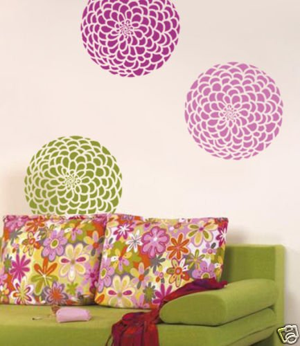Flower Stencil Zinnia Grande Med, Reusable wall stencils not decals