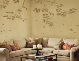 Wall Stencils Sycamore Branches 3pc kit, Reusable stencils not decals