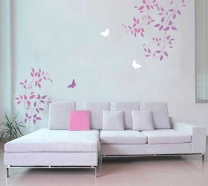 Wall Stencils Clematis Vine 3pc kit, Easy DIY Wall decor with stencils