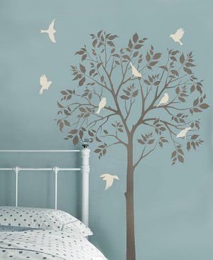 Large Tree and Birds Stencil- DIY Reusable Stencils Better than Decals