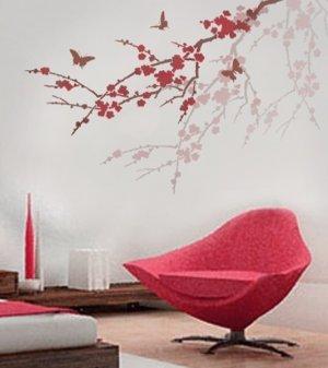 Stencil Sakura & Butterflies, Reusable stencil better than Wall Decals